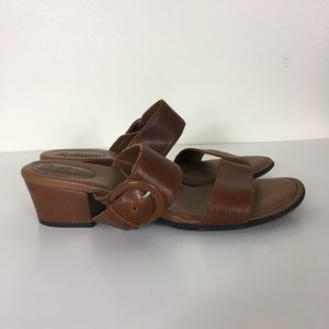 BOC Brown Leather Low Heel Sandals